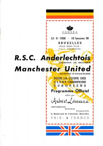 1956 Anderlecht v Manchester United  United's 1st game in EUROPE! - Full replica match programme